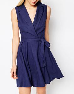 Image 3 ofASOS PETITE Sleeveless Linen Mini Shirt Dress With Belt