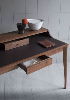 The Yves desk has an inlaid Aubergine leather writing surface two drawers and a cable access hole on the left hand side. Furniture Plans, Wood Furniture, Furniture Design, Outdoor Furniture, Furniture Online, Repurposed Furniture, Woodworking Jig Plans, Woodworking Classes, Business Furniture