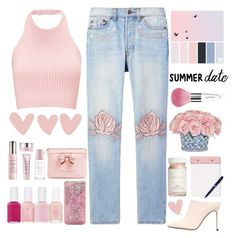 """""""Summer date 💓."""" by parkmona ❤ liked on Polyvore featuring Bliss and Mischief, The French Bee, Ted Baker, By Terry, ban.do, StudioSarah, Flynn&King, Essie, Sergio Rossi and Guerlain"""