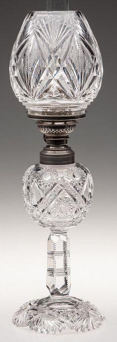 "J. HOARE ""CAROLYN"" BRILLIANT CUT GLASS STAND LAMP."