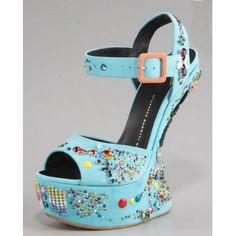 $147  Women's Giuseppe Zanotti No Heel Crystal-Studded Sandal