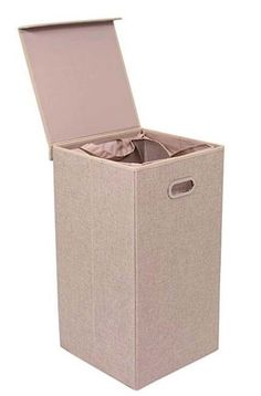 Laundry Hamper Removable Liner With Lid Bedroom Clothes Organizer Single Cream