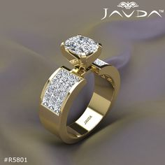 Cushion Diamond Engagement Ring Certified By GIA, G Color & SI1 Clarity, 14k Yellow Gold.