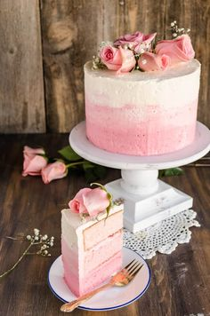 Strawberry Pink Ombre Cake - Oh Sweet Basil