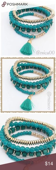 "Teal & Gold Bead Tassel Stretch Bracelet Set! Fun & Trendy Set of 4 Stretch Teal & Gold Bead Bracelets with Tassel!  4 Bracelets in 1 Set!!  • Nickel & Lead Free Gold Plating • Gold & Teal Beads, Cotton Tassel  • Stretch Band to fit any wrist  ➖Prices Firm, Bundle for 20% Discount ➖""Trade"" & Lowball Offers will be ignored ➖Sales are Final, Please read Description & Ask Any Questions! Boutique Jewelry Bracelets"