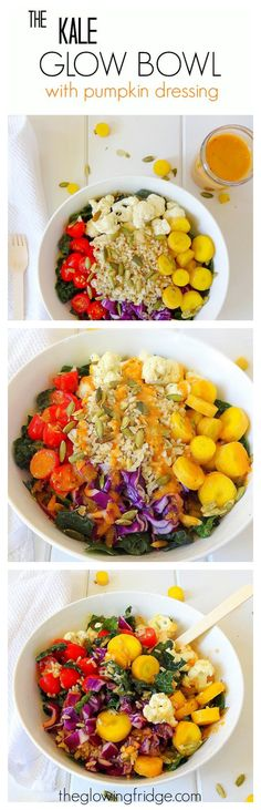 The 'Kale Glow Bowl' with Pumpkin Dressing - vegan and gluten free - super nourishing, filling and festive with kale, cauliflower, cabbage, grape tomatoes, carrots, brown rice and pumpkin seeds. Plus a creamy, tangy pumpkin vinaigrette! From The Glowing Fridge