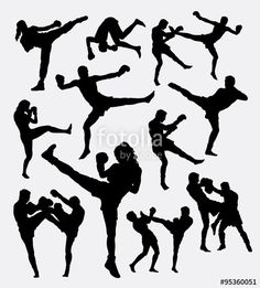 Vector: Muay Thai boxing. Male and female kick boxing silhouette. Good use for symbol, logo, web icon, mascot, game elements, or any design you want. Easy to use.