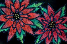plants, complementary colors, line, color, pattern artist used construction paper crayons on black paper