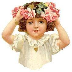 Glanzbilder - Victorian Die Cut - Victorian Scrap - Tube Victorienne - Glansbilleder - Plaatjes : Kinder mit Blumen - Children with flowers - Enfants avec des fleurs Clip Art Vintage, Papel Vintage, Vintage Ephemera, Vintage Roses, Vintage Paper, Vintage Images, Vintage Valentines, Vintage Holiday, Vintage Girls