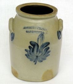 """Sold For $ 325                                                          ca. 1865; Cowden & Wilcox (Harrisburg, PA) salt glazed crock with brushed cobalt on applied ear handles & open tulip design, impressed """"Cowden & Wilcox Harrisburg, PA"""", 7 ¼""""d, 9 ¼""""h;                             Condition report           Some flaking on rim 1/8""""-3/8"""""""