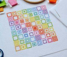 KIT Geometric Squares Cross Stitch Kit Modern Design