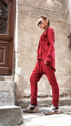 VENTA nuevo SS/16 suelto Casual Borgoña gota harén pantalones