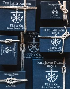 nautical style packaging with anchor and knot Brand Packaging, Packaging Design, Branding Design, Nautical Knots, Nautical Style, Preppy Style, Savon Soap, Box Design, Gift Wrapping
