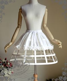 Fanplusfriend Gothic Steampunk Knee Length Full Birdcage Steel Petticoat in white
