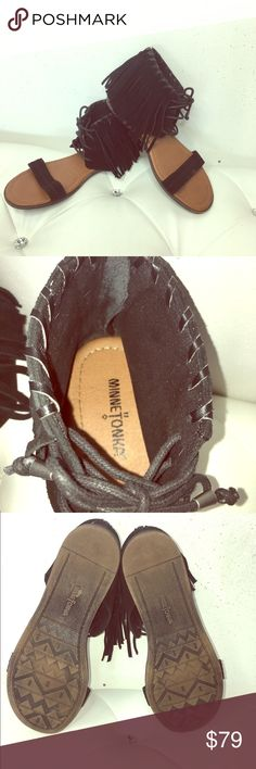 Minnetonka® Suede Moccasin Sandals Incredibly comfortable sandals in excellent condition. Perfect to dress up any look without wearing heels. Show off that gorgeous pedicure! Too big for me, wore once for few hours. Ships within 1 business day. Bundle to save. Minnetonka Shoes Sandals