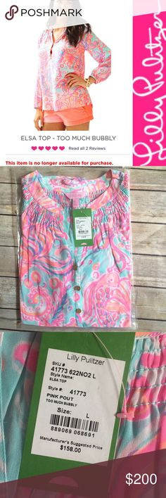 HP NWT Lilly Pulitzer Elsa Top Too Much Bubbly OUT OF STOCK Lilly Pulitzer Elsa Top - Pink Pout, Too Much Bubbly. Such a fun pretty pattern! NWT in original packaging size large. Item description & model photo from Lilly website, actual item pictured. NO TRADES, PRICE FIRM, NO Discussion of pricing in comments (sold out item, price is firm, no offers). Thanks for shopping my closet  note: not eligible for bundle discount Lilly Pulitzer Tops Blouses