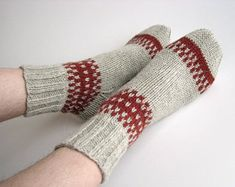 Hand knit patterned wool socks, Gifts for mom, Women warm winter slippers socks, Mother's day handmade gifts, Home made cozy woolen socks Fair Isle Knitting, Knitting Socks, Hand Knitting, Knitting Patterns, Cute Gifts, Gifts For Mom, Woolen Socks, Winter Slippers, Fall Accessories