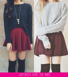 Just give her: Get out wine - school outfits Skirt Outfits, Winter Outfits, Casual Outfits, Fashion Outfits, Womens Fashion, Winter Mode, Look Chic, Korean Fashion, Dress Up