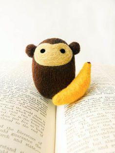 Needle Felted Morton the Monkey with Banana | Flickr - Photo Sharing!