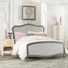 Antique Silver Katherine Upholstered Bed #rosenberryrooms