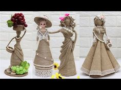 5 Beautiful Jute craft doll | How to decorate doll from jute rope - YouTube Diy Crafts For Kids Easy, Creative Crafts, Crafts To Make, Glass Painting Patterns, Twine Crafts, Towel Crafts, Coffee Crafts, Theme Noel, Burlap Flowers