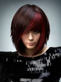 brown and red hair- also love the cut