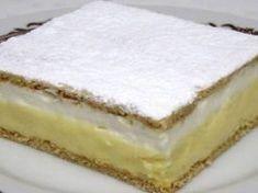 Ingrediente:<br > <br > 12 l lapte suta grasimi<br > 150 gr zahar granulat<br > 40 gr faina<br > 110 gr budinca cu aroma de vanilie<br > 2 galbenusuri<br > <br > Alte ingrediente:<br > 250 gr faina<br > 50 Hungarian Desserts, Hungarian Recipes, Making Whipped Cream, Creamed Eggs, Baking Tins, Vanilla Cake, Nutella, Cheesecake, Food And Drink