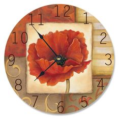 Stupell Decor 12 in. Red Poppy Decorative Vanity Wall Clock - CL-013