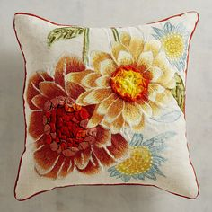Embroidered Vibrant Sunflowers Pillow
