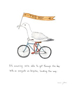 Poster | SEAGULLS ON BICYCLES von Marc Johns | more posters at http://moreposter.de