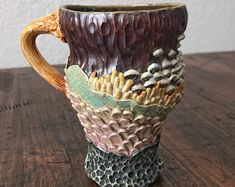 Woodland Ceramic Mugs, by Lori Phillips on Etsy See our 'mugs' tag Earth Texture, Clay Texture, Pottery Mugs, Ceramic Mugs, Woodland, Sculptures, Buy And Sell, Tableware, Creative