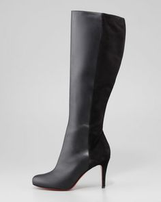 Christian Louboutin Acheval Suede-Back Knee Boot, Black - Neiman Marcus