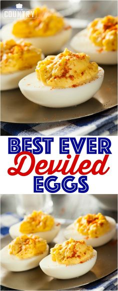 The best ever deviled eggs These classic, best ever deviled eggs are a must serve every holiday or cookout. Plus, an easy tip and shortcut for perfect hard-boiled eggs every time! - The Best Ever Deviled Eggs recipe from The Country Cook Best Deviled Egg Recipe Ever, Best Deviled Eggs, Deviled Eggs Relish, Perfect Deviled Eggs, Develed Egg Recipe, Deviled Eggs Recipe No Relish, Classic Deviled Eggs, Best Recipe Ever, Snacks
