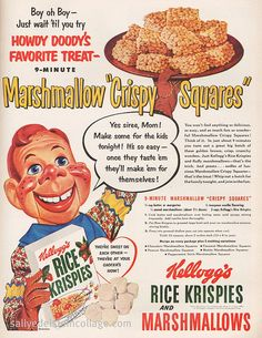 Doody for Rice Krispie Treats A wonderfully fun ad for Rice Krispies cereal featuring Howdy Doody. Creepy then and creepy today.A wonderfully fun ad for Rice Krispies cereal featuring Howdy Doody. Creepy then and creepy today. Old Advertisements, Retro Advertising, Retro Ads, Advertising Campaign, Retro Recipes, Old Recipes, Vintage Recipes, Vintage Food, Vintage Stuff