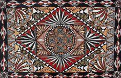 "Samoan Artist Tauvela Tuala Acrylic on Tapa Titled: ""pe'ape'a"" Tapa.co.nz  beautifulnewzealand.com"