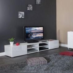 Salon - MANGO Banc TV 185cm 4 niches 2 tiroirs blanc → 200 €
