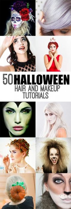 50 Halloween Hair and Makeup Tutorials Girl Loves Glam-Amazing Halloween hair and makeup tutorials to inspire you and your costume this Halloween!