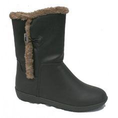 Synthetic lined Ladies #vegan midcalf Black Boot #govegan #crueltyfree #nonleather - also available in Brown