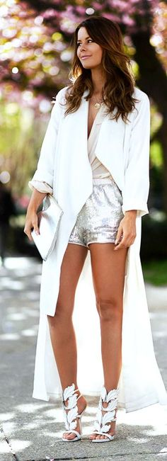 Silver Sequin Shorts Streetstyle by Nette Nestea... AHHH SHE'S WEARING THE KANYE SHOE <3