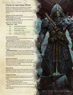 Oath of the Grim Hunt // A paladin oath devoted to hunting the monster, the mutant, and the witch // Update link in comments. Dungeons And Dragons Classes, Dungeons And Dragons Characters, Dungeons And Dragons Homebrew, Dnd Characters, Dungeons And Dragons Paladin, Fictional Characters, Armadura Viking, Larp, Dnd Paladin