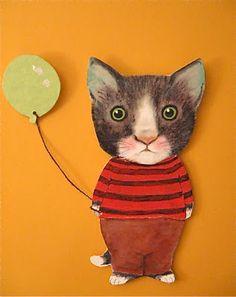 Sandy Mastroni: Etsy paper doll .... cat art.... sold