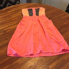 Dress Flamingo pink blocked strapless sundress fitted top lined for no slip cute casual pockets adorable Xhilaration Dresses Strapless