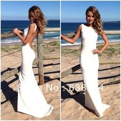 Online Shop Weddings&Events Scoop Backless Straight White Spandex Floor Length elie saab evening dresses Prom Long Gown Party 2014 Aliexpress Mobile