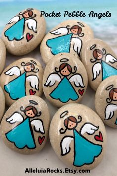 Pocket Pebble Angels Bag of 10 Girl Pocket Angel Minis Pocket Tokens Pocket Pebbles First Commun&; Pocket Pebble Angels Bag of 10 Girl Pocket Angel Minis Pocket Tokens Pocket Pebbles First Commun&; Rock Painting Patterns, Rock Painting Ideas Easy, Rock Painting Designs, Paint Designs, Rock Painting Kids, Children Painting, Painted Rocks Craft, Hand Painted Rocks, Painted Pebbles