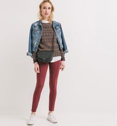 Milano jersey leggings bordeaux red - Promod