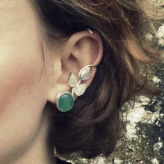 Silver ear cuff with green agate and moonstone. by dorotatodd, $185.00