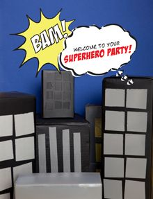 "Birthday Shirt Idea...boxes as buildings...invitation idea...food labels...superhero certificates...""Thanks to our Superheros"" quote for photo booth"
