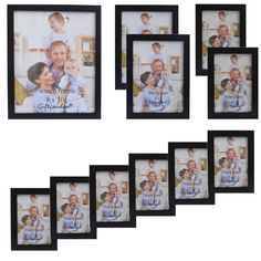 Giftgarden Wood Photo Frame Black Picture Frames For Living Room Frames For Picture and Posters, Set of 11 PVC Covering Front