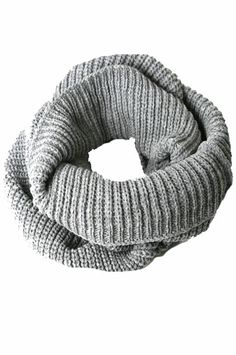 Winter Scarf - Knitted Winter Loose Round Scarf 1 (Grey)