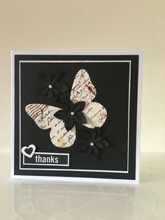 Thank you card with embossed flowers & pearl trim